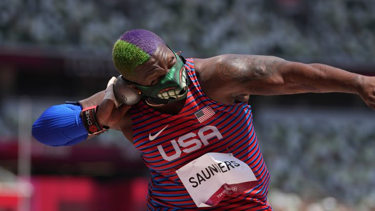 Saunders in shot put action