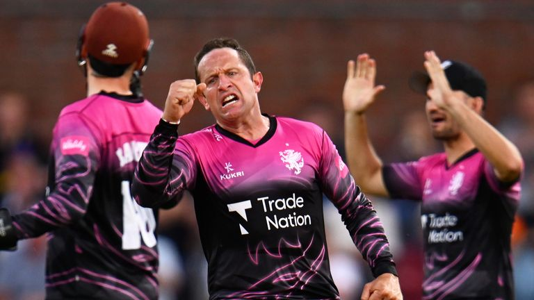 Roelof van der Merwe celebrates after taking the wicket of Josh Bohannon