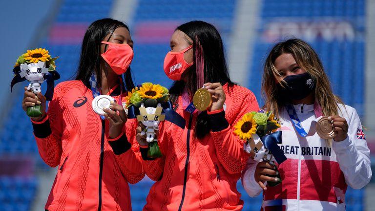 Brown came third in the women's park event behind Sakura Yosozumi and Kokona Hiraki of Japan