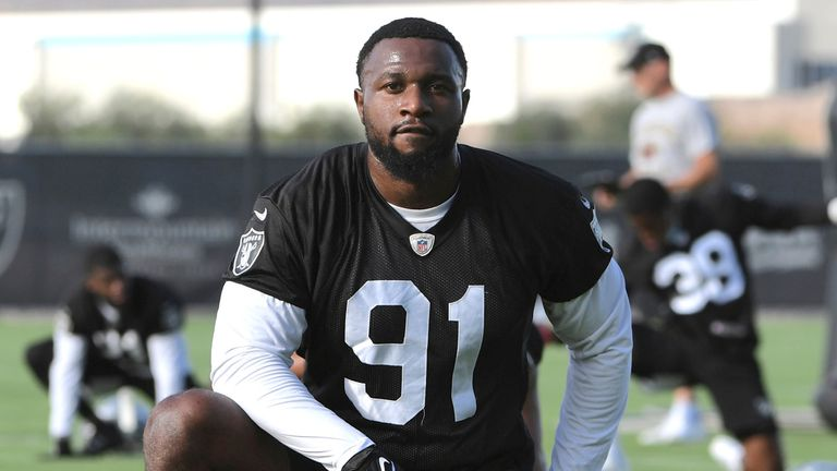 Yannick Ngakoue is hoping to have finally found a long-term home with the Raiders (AP Photo/David Becker)
