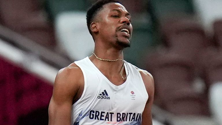 Zharnel Hughes was disqualified after false starting in the Olympic 100m final