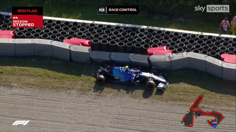 Nicholas Latifi crashes out causing red flag in qualifying and ending session at the Dutch GP.