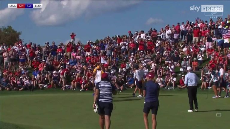 Highlights as United States rookie duo Yealimi Noh and Mina Harigae defeated Sophia Popov and Celine Boutier 3&1 in Sunday's fourballs at the Solheim Cup.