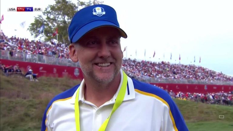 An emotional Ian Poulter admitted the European team were 'outplayed' by Team USA and explained why it would be wrong to criticise Padraig Harrington for the heavy defeat