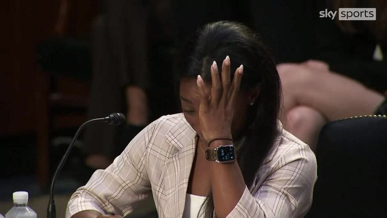 US Olympic gymnast Simone Biles testifies during a Senate judiciary hearing about the Inspector General's report on the FBI handling of sex abuse claims against disgraced former team doctor Larry Nassar