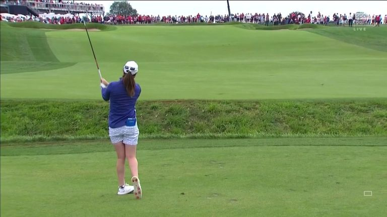 Highlights from Maguire and Reid's surprise victory over the Korda sisters in the Saturday foursomes, helping Europe move into a 3.5-0.5 lead