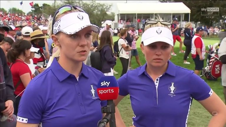 An emotional Sagstrom questions the decision to award the eagle at the par-five 13th to Team USA