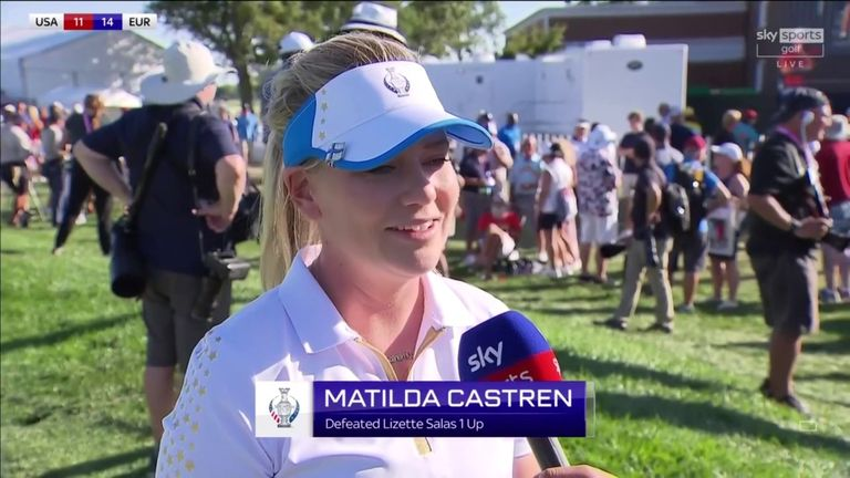 Matilda Castren said it was an amazing feeling to hole the putt which ensured Europe retained the Solheim Cup against the United States