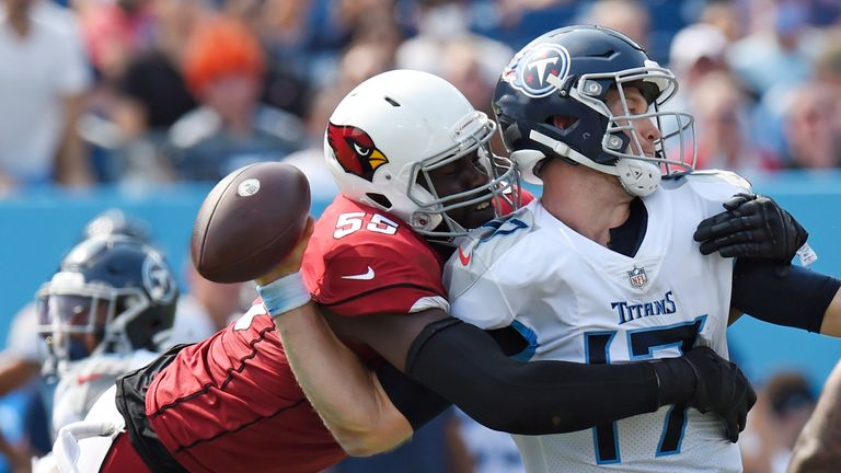 Chandler Jones takes down Ryan Tannehill for one of his five sacks as the Arizona Cardinals beat the Tennessee Titans
