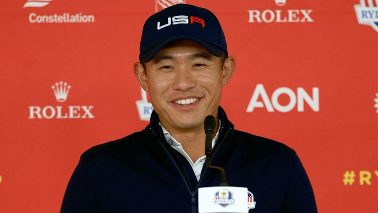Collin Morikawa speaks to the media at Whistling Straits
