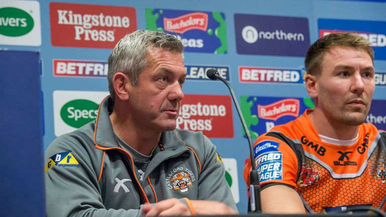 Daryl Powell and Shenton at Castleford's press conference ahead of the 2017 Grand Final against Leeds Rhinos