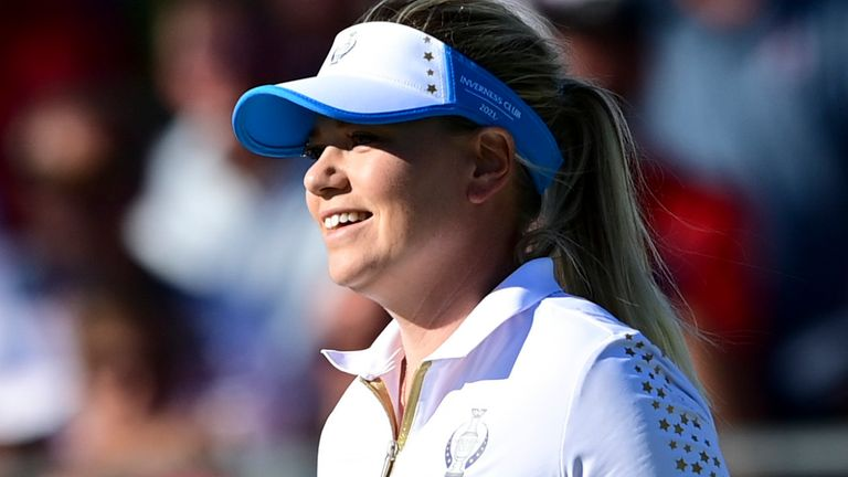 Emily Pedersen holed the putt to complete a 15-13 victory for Team Europe