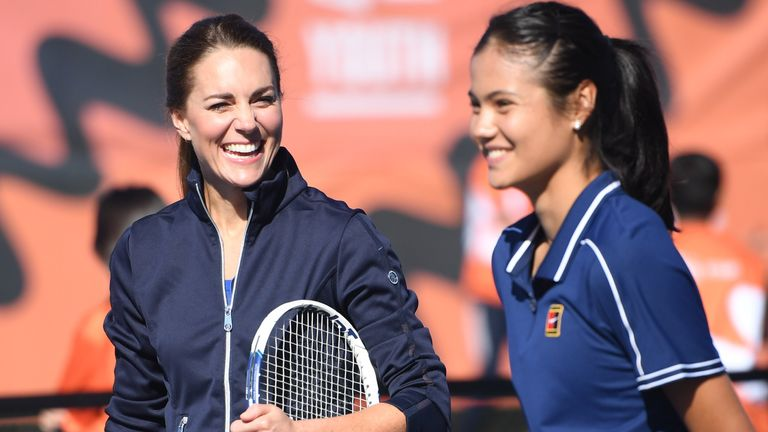 Raducanu - pictured playing tennis with Kate Middleton - has seen a meteoric rise since winning the US Open