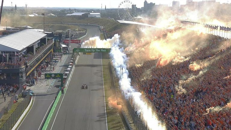 The Dutch fans celebrate as Max Verstappen wins his first ever home Grand Prix to re-take the championship lead.