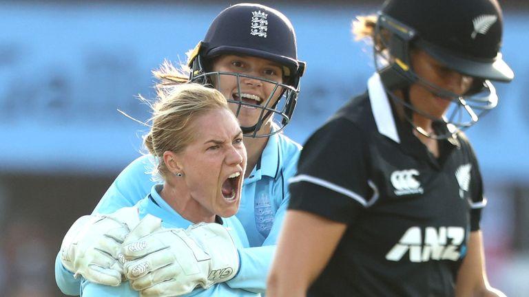 England's Katherine Brunt celebrates bowling New Zealand's Suzie Bates during the third ODI