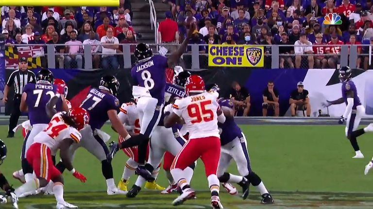 Baltimore Ravens quarterback Lamar Jackson locates a wide-open Marquise 'Hollywood' Brown on a 42-yard jump-pass touchdown.