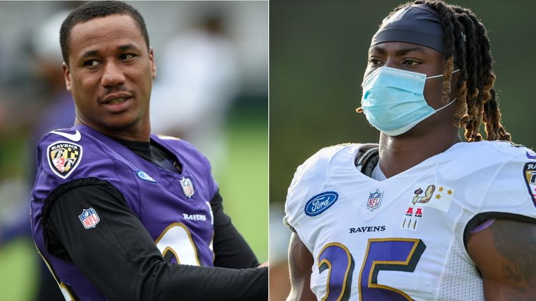 Baltimore Ravens duo Gus Edwards and Marcus Peters have knee injuries in