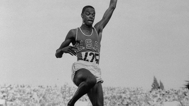 Ralph Boston on September 2, 1960 in the Summer Olympic long jump finals, which he won with an Olympic record of 26 feet, 7 and half inches