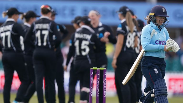 Tammy Beaumont was the first to go as England slumped to 27-4