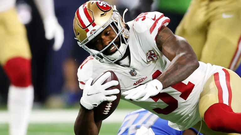 Raheem Mostert was injured during the San Francisco 49ers' season opener against the Detroit Lions