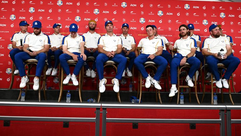 Team Europe during their press conference after the defeat