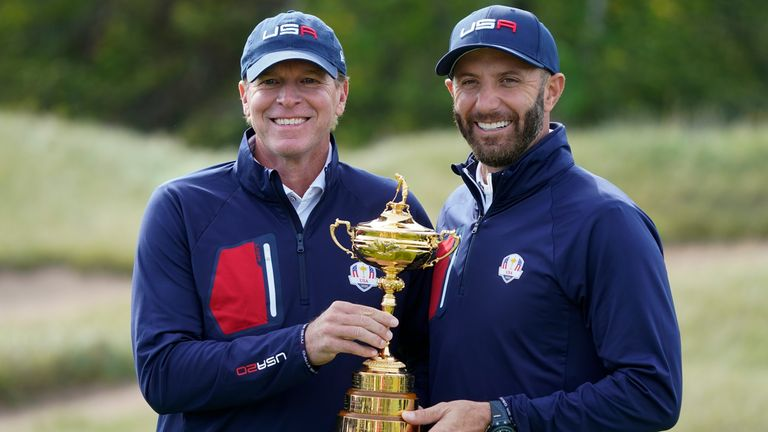 Team USA captain Steve Stricker and Johnson with the Ryder Cup