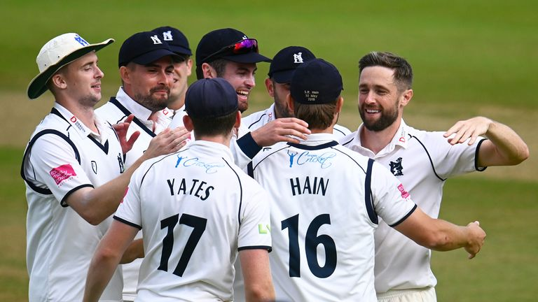 Warwickshire's Chris Woakes celebrates after taking the wicket of Azhar Ali on the final day at Edgbaston