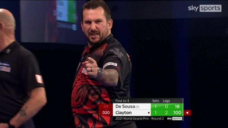 Clayton converted three consecutive ton-plus checkouts in his fabulous win