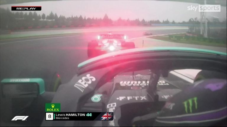 Lewis Hamilton finally gets past Yuki Tsunoda as he takes the Japanese driver around the outside in the Turkish GP.