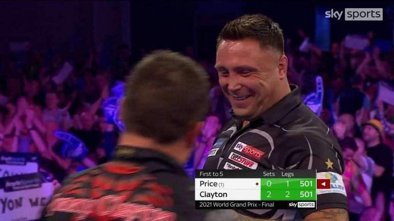 Jonny Clayton knocked out 170 and then 164 in successive stages in an incredible third set of the World Grand Prix Final against Gerwyn Price