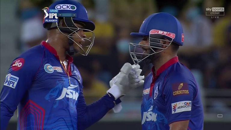 Delhi Capitals' Shimron Hetmyer (L) and Rishabh Pant shared a fifth-wicket stand of 83 from 50 balls