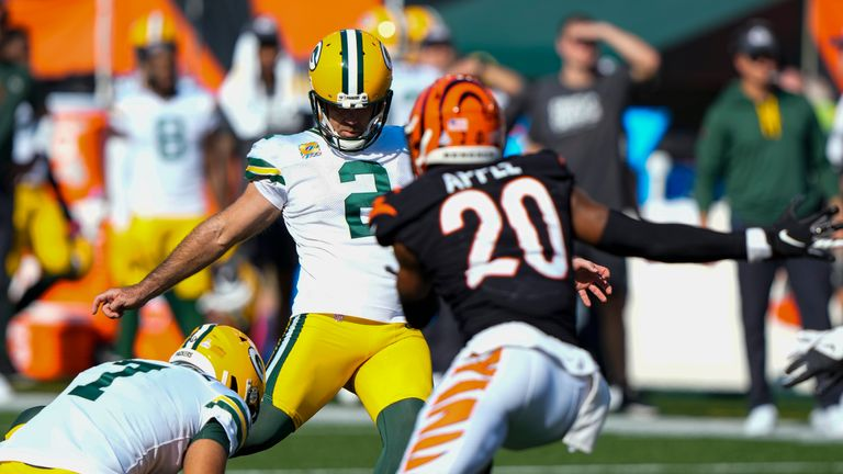 Green Bay Packers and the Cincinnati Bengals miss five-straight game-winning field goal attempts until finally Mason Crosby ends it