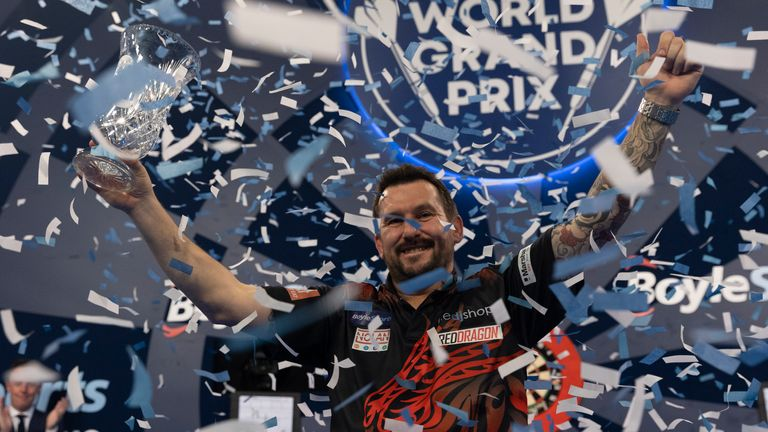 Jonny Clayton joins The Darts Show podcast, just a couple of days on from his World Grand Prix triumph (Image: Lawrence Lustig/PDC)