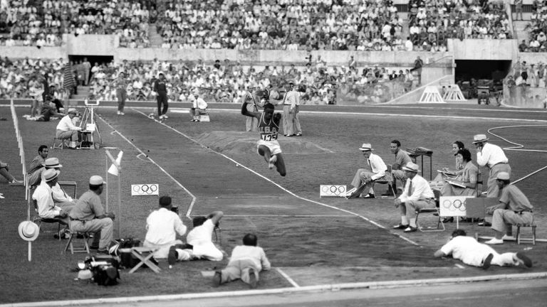 Boston during the finals of the long jump event at the 1960 Olympics where he won with a new Olympic record of 8.12 metres