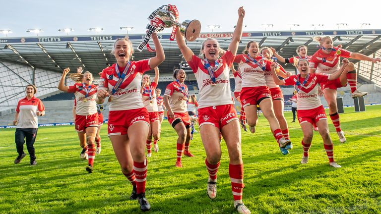 St Helens celebrate their win over Leeds in Sunday's Women's Super League Grand Final